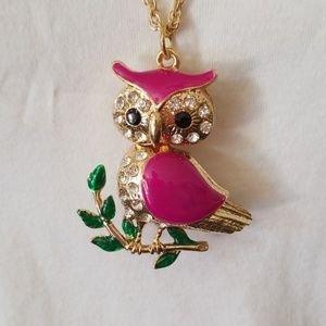 Jewelry - Owl Pendant Sweater Necklace Gold Pink